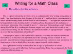 writing for a math class