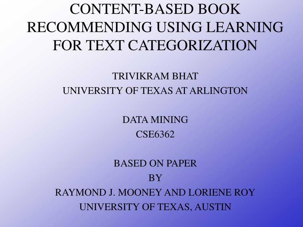 content based book recommending using learning for text categorization l.