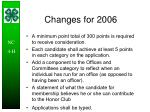 changes for 2006