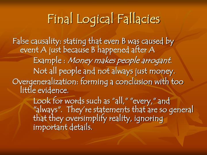 Final Logical Fallacies