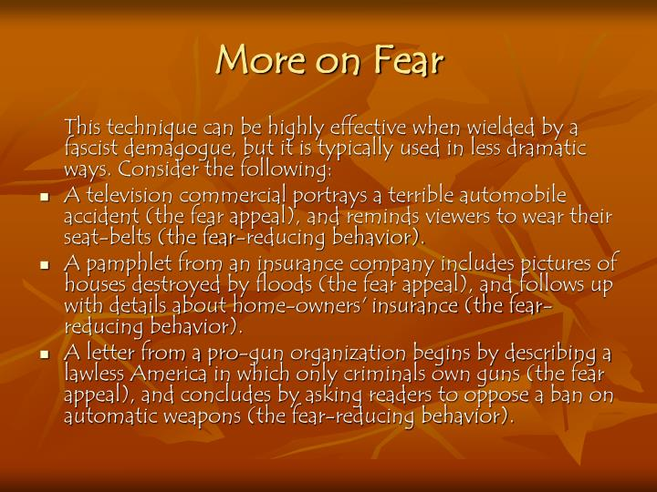 More on Fear