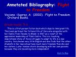 annotated bibliography flight to freedom