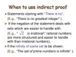 when to use indirect proof