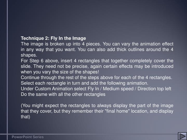 Technique 2: Fly In the Image