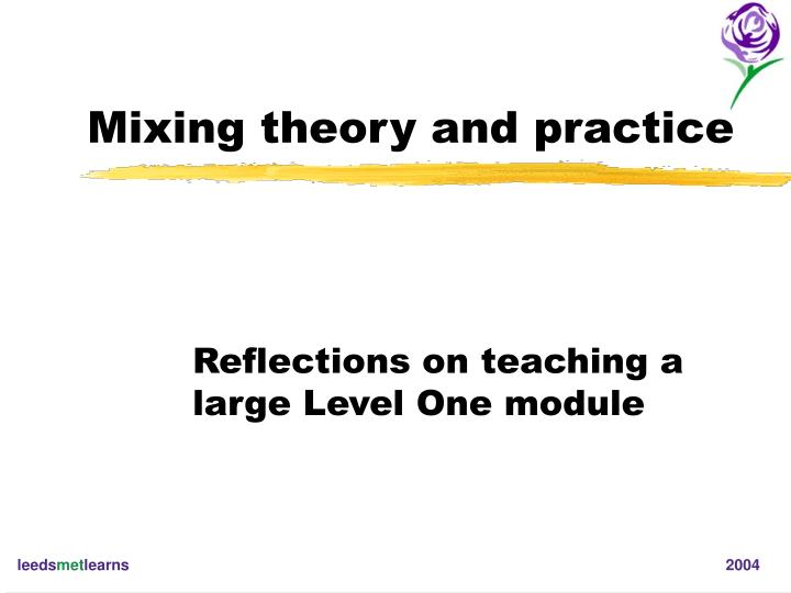 mixing theory and practice n.