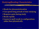 studying reading characteristics