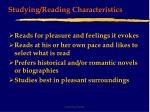 studying reading characteristics32