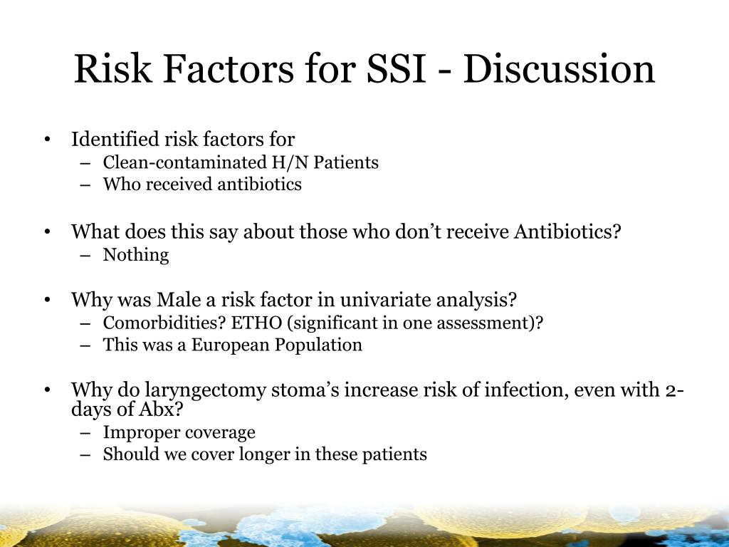 Risk Factors for SSI - Discussion