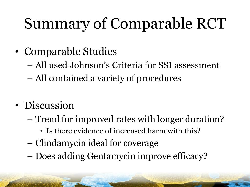 Summary of Comparable RCT