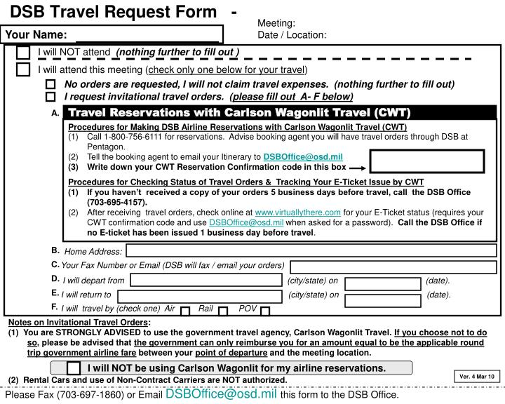 Dsb travel request form