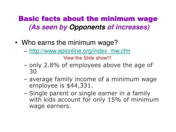 Basic facts about the minimum wage