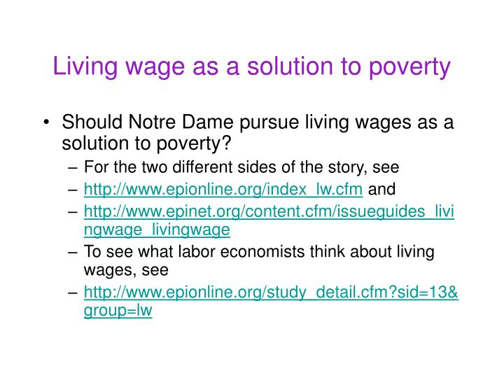 Living wage as a solution to poverty