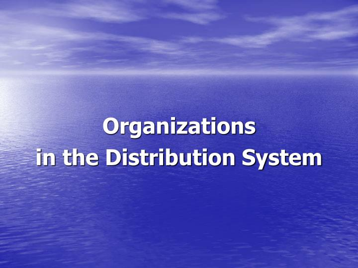 organizations in the distribution system n.
