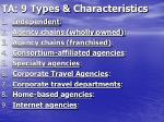 ta 9 types characteristics