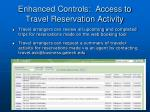 enhanced controls access to travel reservation activity