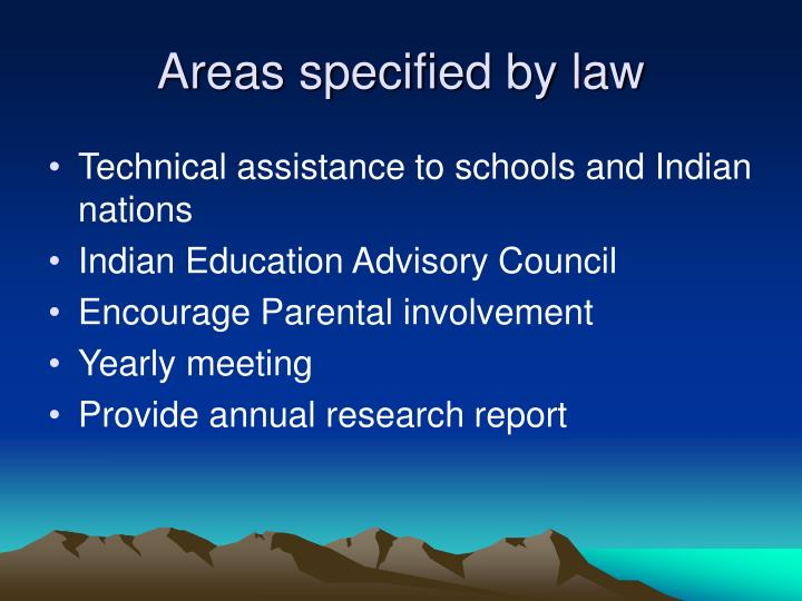 Areas specified by law