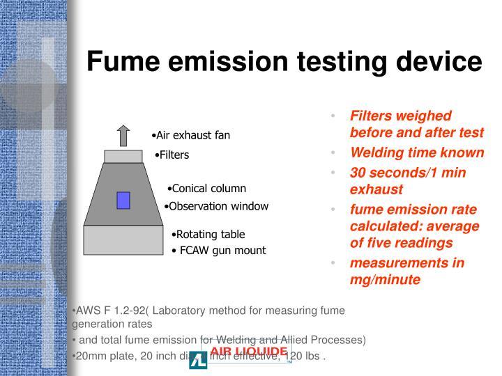 Fume emission testing device