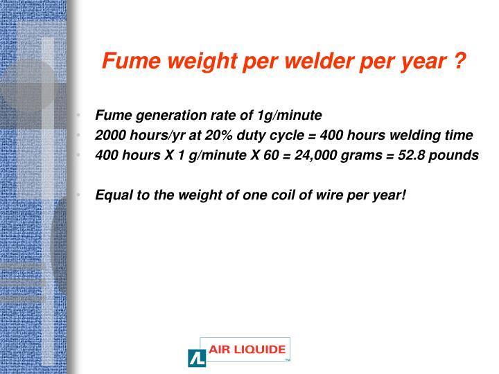 Fume weight per welder per year ?