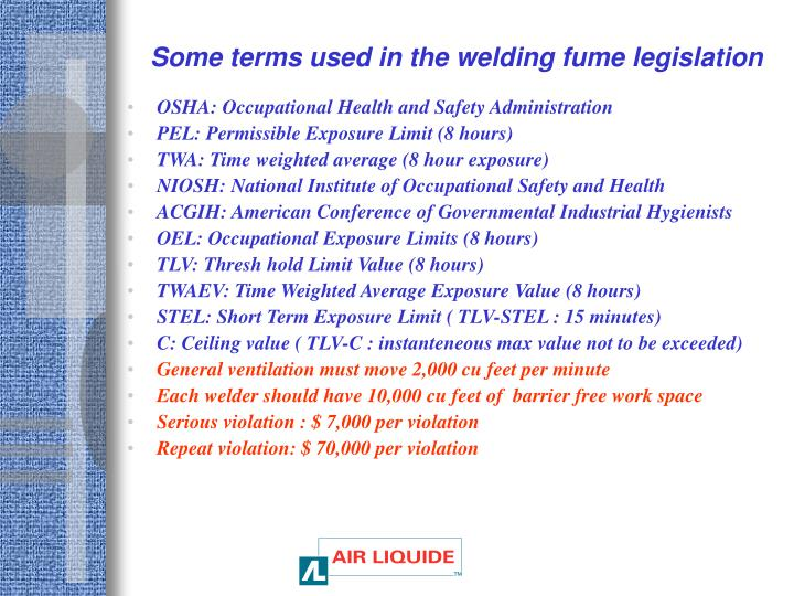 Some terms used in the welding fume legislation