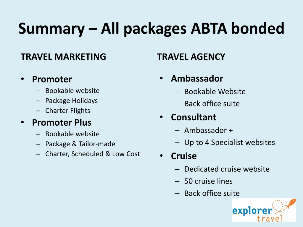 Summary – All packages ABTA bonded