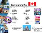 destinations to date