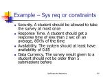 example sys req or constraints