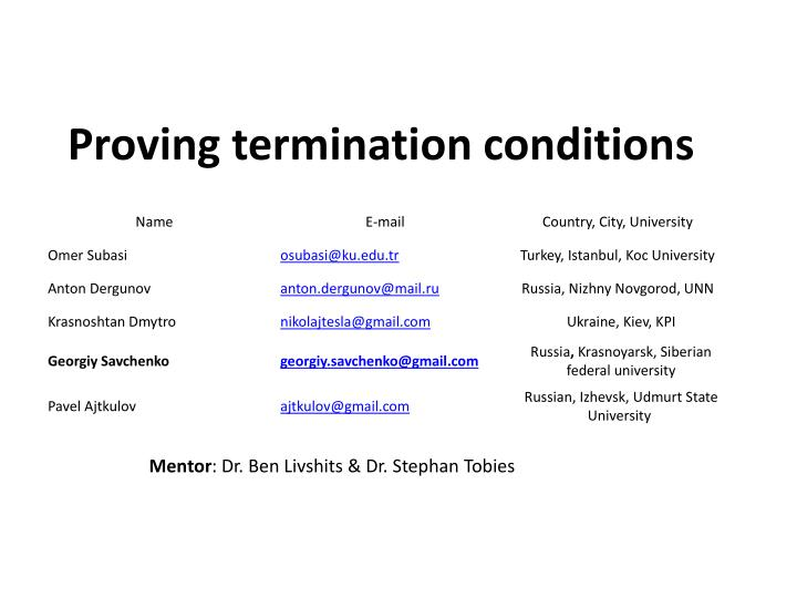 proving termination conditions n.