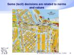 some tacit decisions are related to norms and values