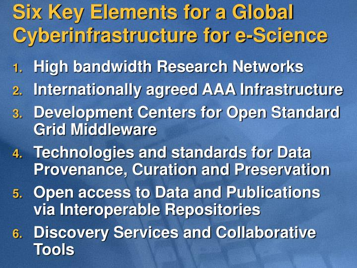 Six Key Elements for a Global                   Cyberinfrastructure for e-Science