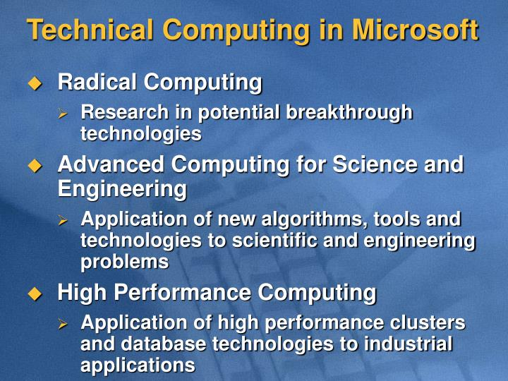 Technical Computing in Microsoft