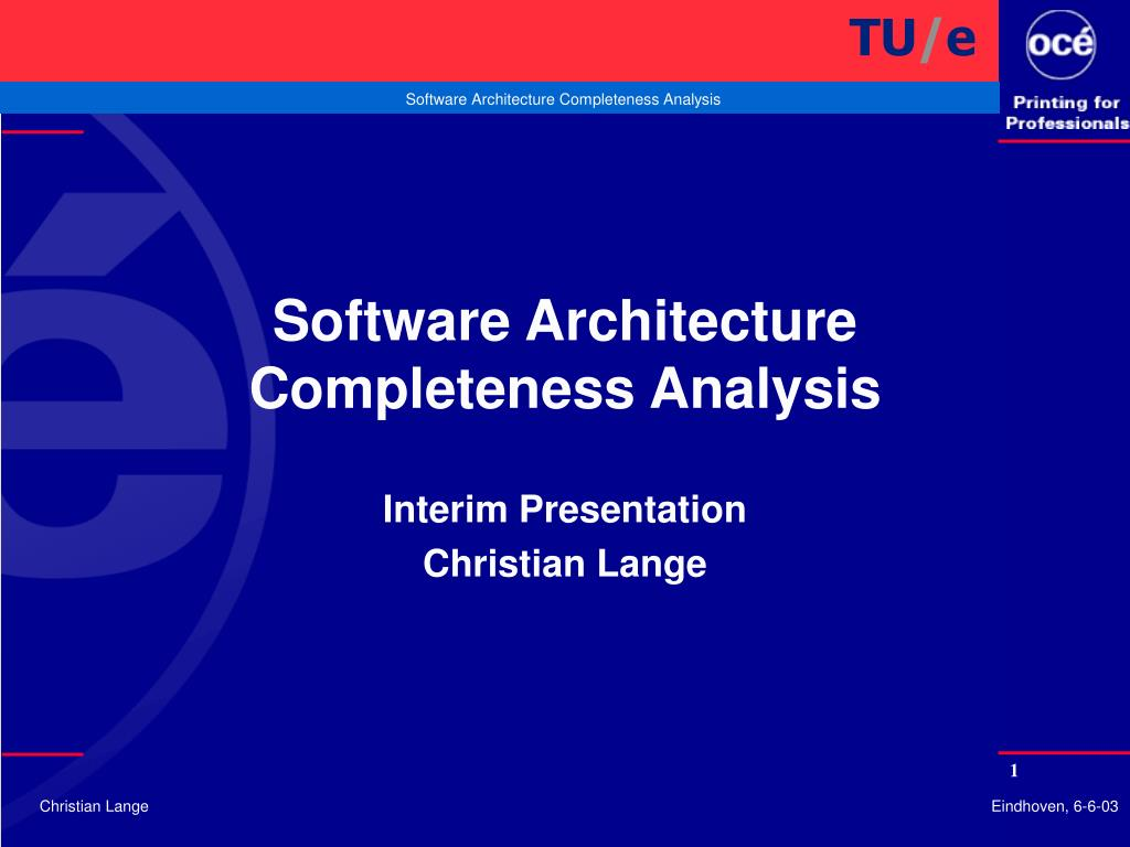 software architecture completeness analysis l.