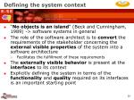 defining the system context