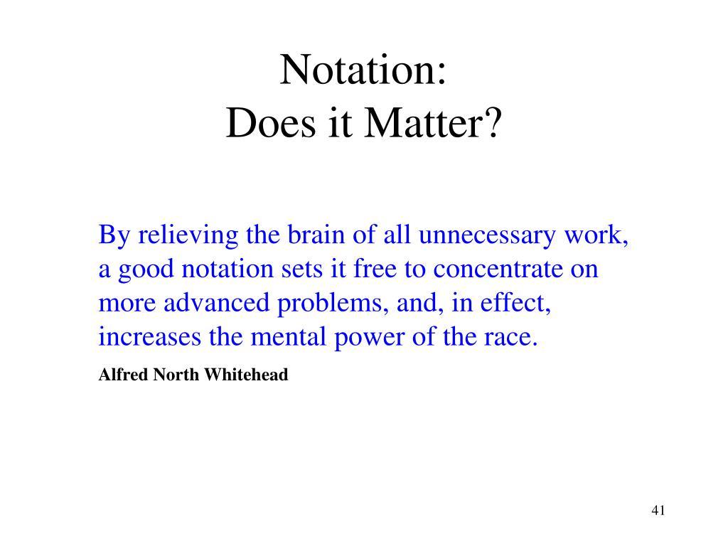 Notation: