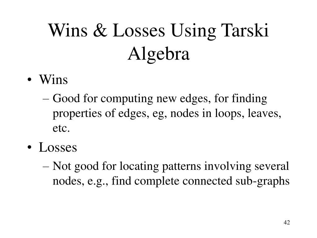 Wins & Losses Using Tarski Algebra