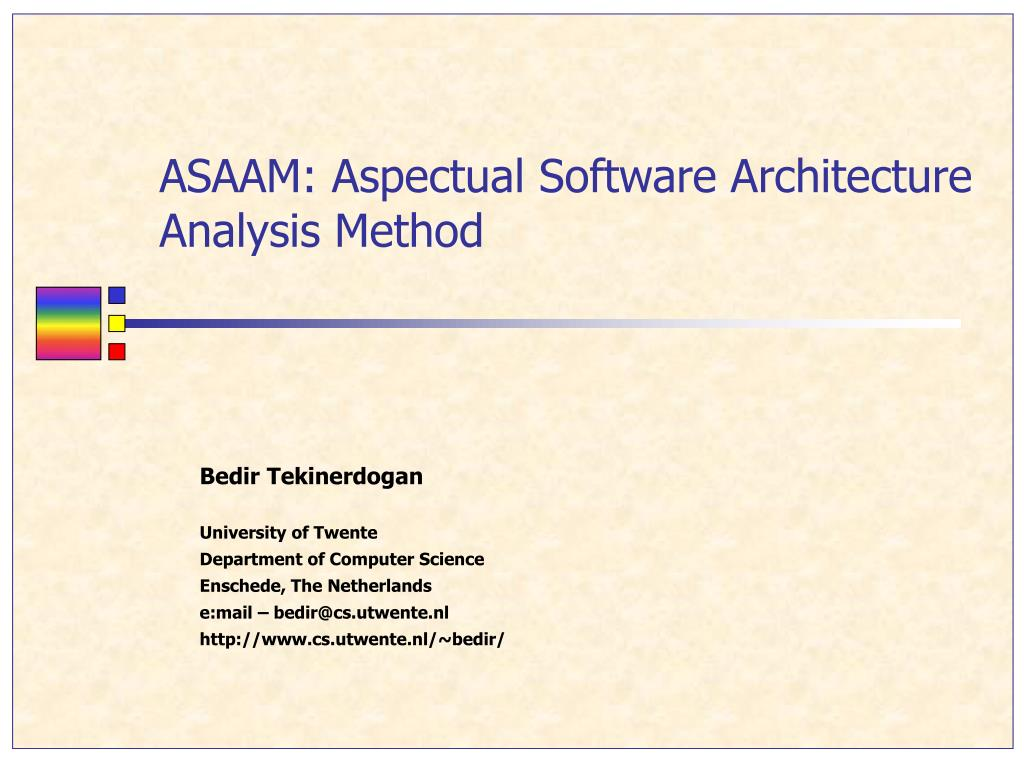 asaam aspectual software architecture analysis method l.