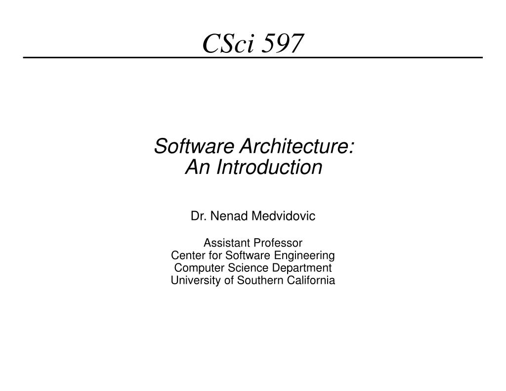 software architecture an introduction l.