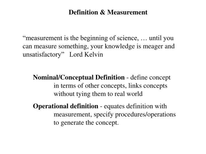 Definition & Measurement