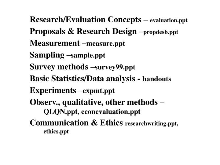 Research/Evaluation Concepts –