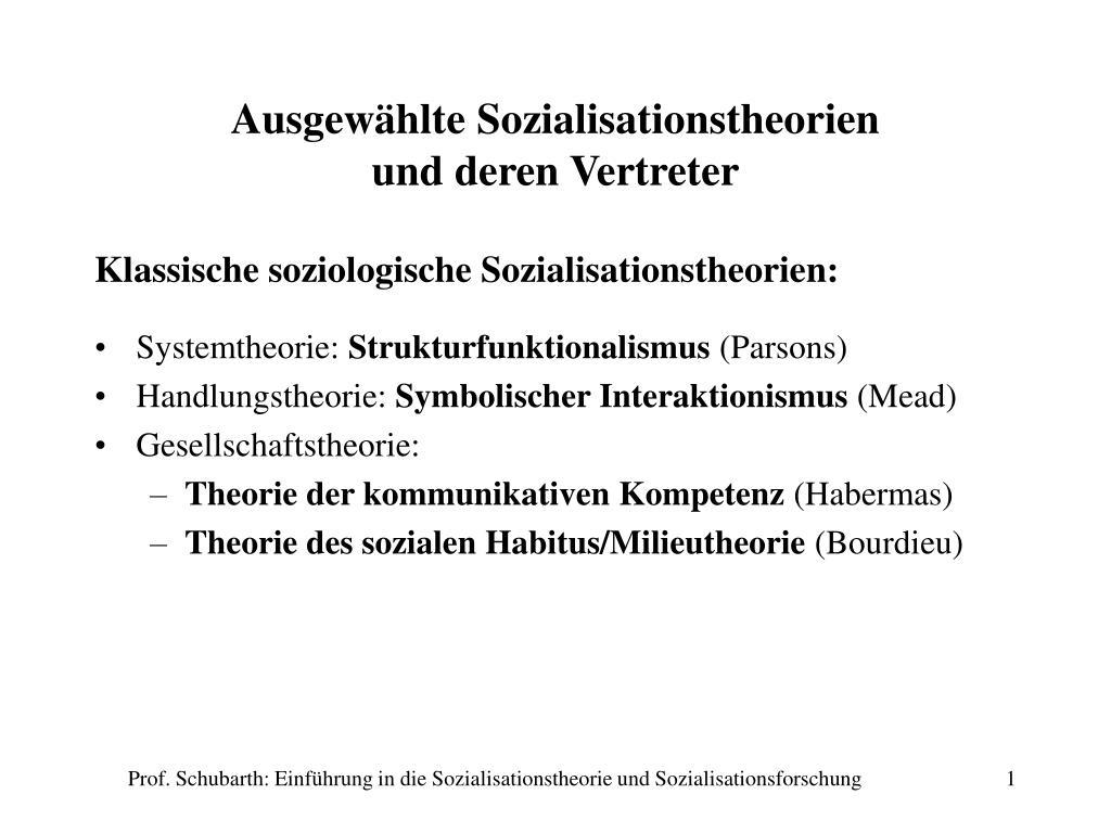 ausgew hlte sozialisationstheorien und deren vertreter l.