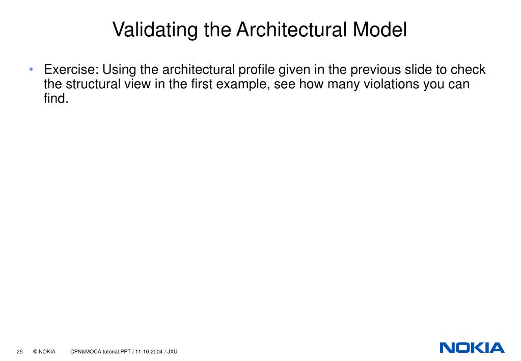 Validating the Architectural Model