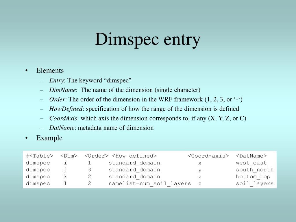 Dimspec entry