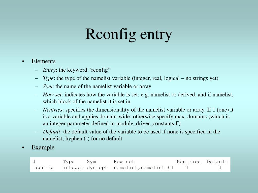 Rconfig entry