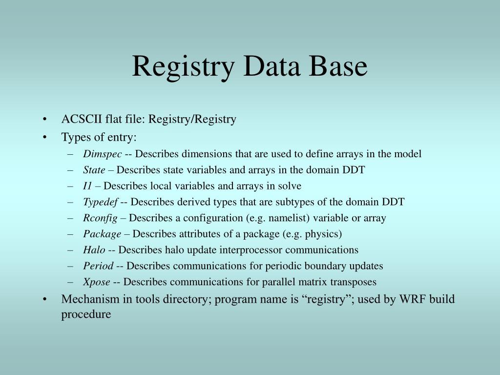Registry Data Base
