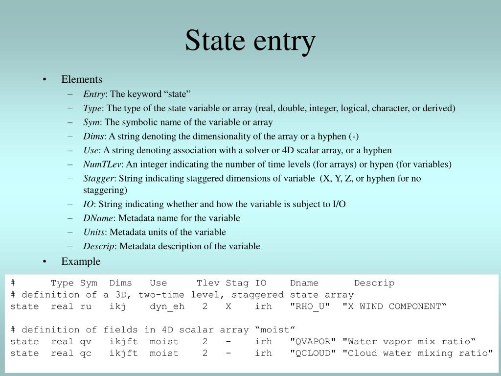 State entry