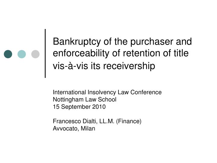 retention of title Importance of retention of title wwwgeorgegreencouk economic downturn means that it is important that retention of title provisions in your commercial contracts.