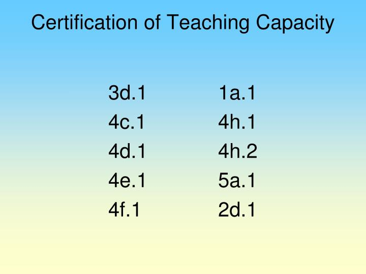Certification of Teaching Capacity