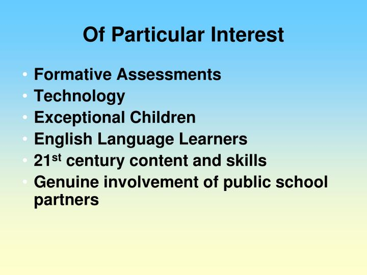 Of Particular Interest