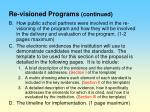 re visioned programs continued