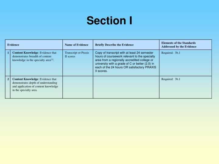 Section I