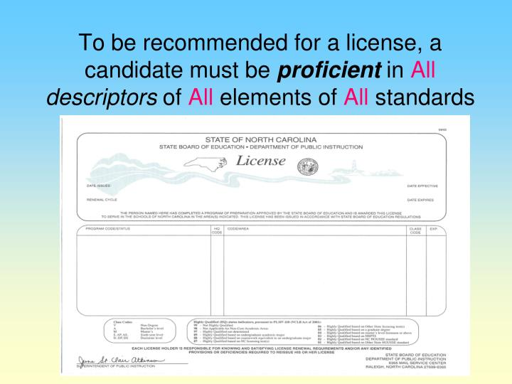 To be recommended for a license, a candidate must be